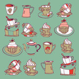 Coffee and desserts. A set of illustrations of coffee and desserts vector illustration