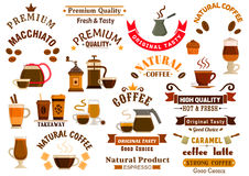 Coffee and desserts icons for cafe signboards Royalty Free Stock Images