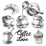Coffee and desserts set. stock illustration
