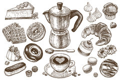 Coffee and desserts set. Coffee and desserts vector set illustration. Food elements isolated on white background. Coffee pot, cup and spoon. Cakes, cookies vector illustration