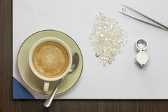 Coffee and Diamond Royalty Free Stock Photography