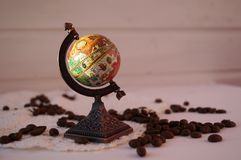 Coffee from different countries, a globe of coffee, coffee is loved all over the world. stock photo