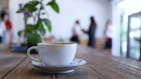 Coffee. Dirty cup of coffee in coffee shop stock footage