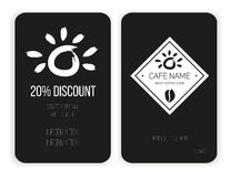 Coffee discount card. template for your design. Black and white Stock Photo
