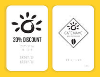 Coffee discount card. template for your design. Black and white Stock Image