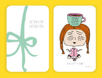 Coffee discount card. template for your design. Girl and cup of . Meditation. Doodle. Royalty Free Stock Photography