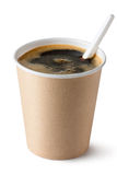 Coffee in disposable cup with plastic spoon. Placed on white background royalty free stock photos