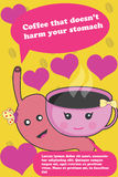 Coffee that do not harm your health colorful poster. Royalty Free Stock Photo