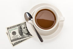 Coffee and dollar royalty free stock images