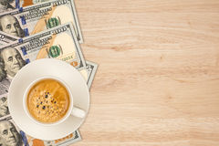 coffee on dollar Stock Photo
