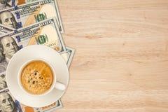 coffee on dollar Stock Photo