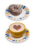 Coffee and donut. Fresh cup of coffee and plate with iced chocolate donut on it, isolated on a white background Royalty Free Stock Image