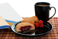 Coffee, Donut and Book Stock Photography