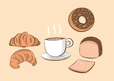 Coffee  with donut bread and croissant Royalty Free Stock Images