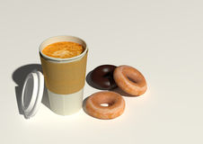 Coffee and donut for breakfast Stock Images