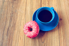 Coffee and donut. S for breakfast stock image