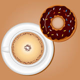 Coffee with Donut Stock Images