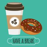 Coffee and donut illustration. Have a break sign. Vector design. Doughnut with chocolate glaze. Paper coffe cup Stock Images