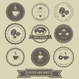 Coffee and Donut Label Design stock illustration