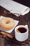 Coffee, donut, newspaper and glasses Stock Images