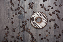 Coffee donut on the table Stock Image