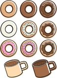 Coffee & Donuts royalty free illustration