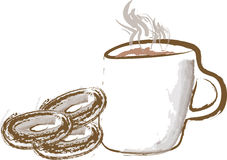 Coffee and donuts. Draw of a cup of hot coffee with donuts Royalty Free Stock Image