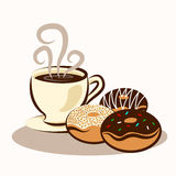 Coffee & Donuts. Illustrations. EPS 10 file and large jpg included Royalty Free Stock Images