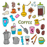 Coffee doodle elements Stock Image