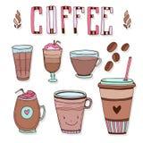 Coffee doodle icons set. Beverages menu design. Vector illustration. Royalty Free Stock Images