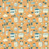 Coffee Doodle Seamless Pattern Stock Images