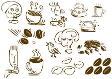 Coffee Doodles. A pack of illustrations of coffee related doodles vector illustration