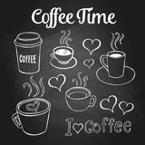 Coffee Doodles Chalkboard Royalty Free Stock Photography