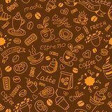 Coffee doodles pattern. Royalty Free Stock Photography