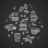 Coffee doodles Royalty Free Stock Image