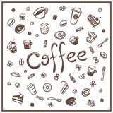 Coffee doodles set Royalty Free Stock Images