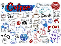 Coffee doodles. Set of Coffee doodles, vector illustration Royalty Free Stock Photo