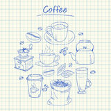 Coffee doodles - squared paper Stock Images