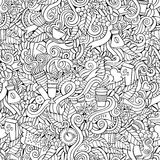 Coffee doodles vector seamless pattern Royalty Free Stock Photos