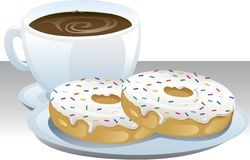 Coffee and doughnuts. Royalty Free Stock Images