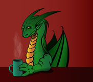 Coffee Dragon. Dragon drinking coffee in the morning Royalty Free Stock Photography