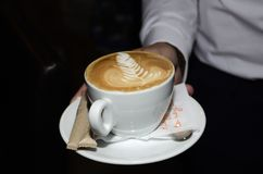 Coffee with drawing. Coffee cup. Coffee with drawing. Custom coffee Stock Image