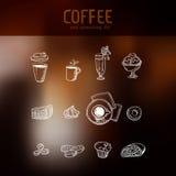 Coffee drawing menu icons set at dark backdrop Royalty Free Stock Image