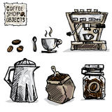 Coffee drawing objects A Stock Photo