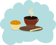 Coffee dream. Cup of coffee with muffin Royalty Free Illustration