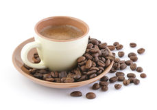 Coffee drink and beans Royalty Free Stock Photo
