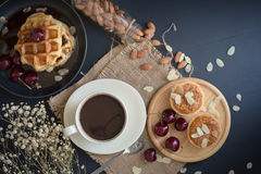 Coffee drink breakfast concept. Includes crispy tarts with almon Royalty Free Stock Photo