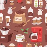 Coffee drink cartoon pot devices and morning beverage coffeemaker espresso cup, desserts coffeine product vector Stock Images