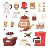 Coffee drink cartoon pot devices and morning beverage desserts espresso cup caffeine product vector illustration Royalty Free Stock Photography