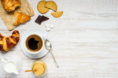 Coffee Drink with Croissant and Biscuit on Copy Space Royalty Free Stock Image